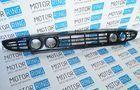 Нижняя решетка переднего бампера под 2 комплекта ПТФ Exclusive для Лада Приора