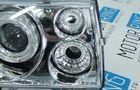 Передние фары для ВАЗ 2108-099 хром, с линзой и ангельскими глазками_4