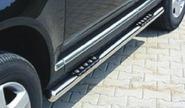 Пороги трубообразные со вставками для ноги 76 mm, нерж.