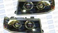 Передние фары с линзой, черный корпус, ангельские глазки для ВАЗ 2110-12