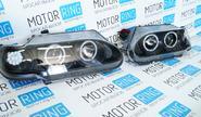 Передние фары для ВАЗ 2113-15 черные, с ангельскими глазками и диодным поворотником TF1404В