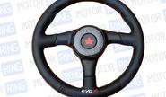 Спортивный руль для автомобилей ВАЗ черный с вставкой под карбон R1 (5155)