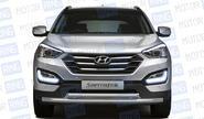Защита переднего бампера двойная «ПТ» Ø63/51 мм (НПС) 11020102 для Hyundai Santa Fe