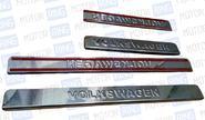 Накладки на пороги хромированные с надписью для Volkswagen Touareg 2013