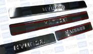 Накладки на пороги хромированные с надписью для Hyundai Solaris 2010-14