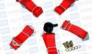 Ремни безопасности «TURBOTEMA» 5-ти точечные быстросъемные, красные, 2 дюйма