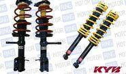 Комплект передней и задней масляной подвески в сборе «KYB Premium» (Каяба) для ВАЗ 2110-12, занижение от -25 до -50мм.