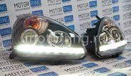 Фары черные со встроенными светодиодными ДХО на Лада Приора