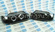 Халявing! Передние фары ВАЗ 2113-15 черные с ангельскими глазками и диодным поворотником tf1404В (товар с производственным дефектом - сломано крепление линзы, можно восстановить)