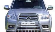 Защита переднего бампера 1747 Н «Высокая с усами» с доп.защитой двигателя нерж для Mazda BT-50 Pickup