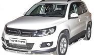 Защита порогов 1805 Н «Труба с проступью» d76 нерж для Volkswagen Tiguan