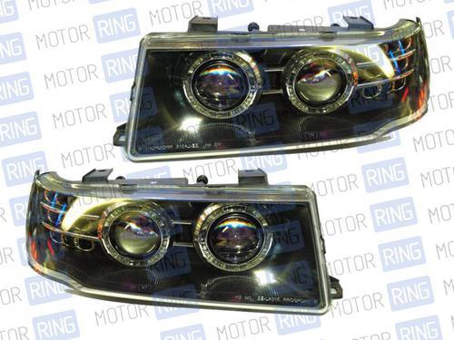 Передние фары с линзой, черный корпус, ангельские глазки для ВАЗ 2110-12_1
