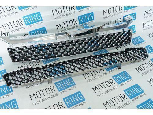 Комплект решеток радиатора и бампера Maretti Aqua-Laguna (черный лак/хром) для Лада Калина