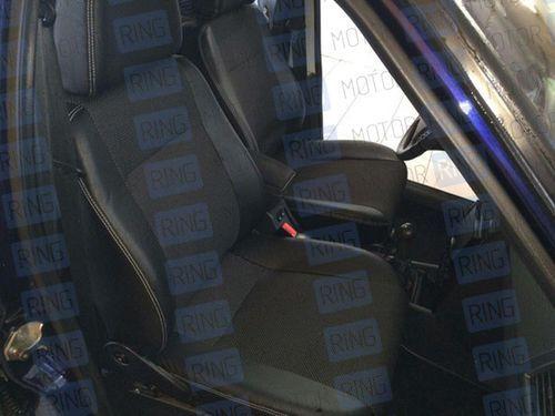 Чехлы (обивка) на сидения, экокожа с тканью для Лада Приора хэтчбек, универсал_1