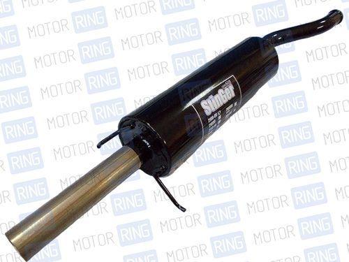 Глушитель прямоточный Ф85 мм для Лада Приора хетчбек без насадки для штатной установки под вырез бампера_1