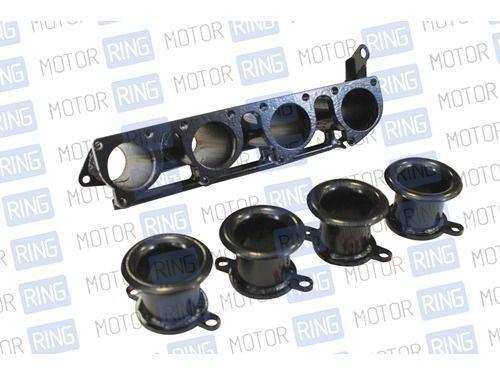 Впускной коллектор 4-х дроссельной системы впуска для ВАЗ 2108-15 16V, Stinger Sport горизонтальный под дроссельный узел Toyota Levin (Black Top) с дудками_1