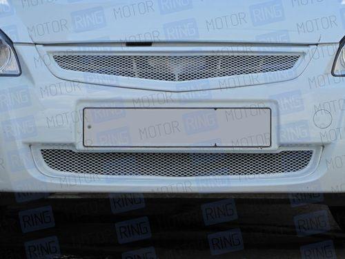 Нижняя решетка переднего бампера нового образца Ультра с сеткой неокрашенная для Лада Приора 2_1