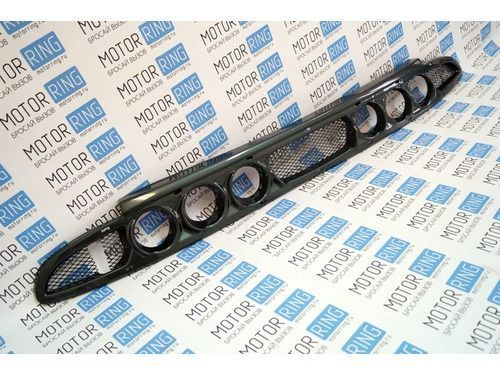 Нижняя решетка переднего бампера под 3 комплекта ПТФ (exclusive) на Лада Приора в цвет_1