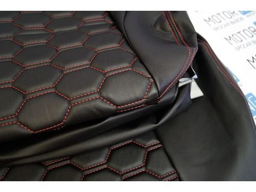 Обивка сидений (не чехлы) экокожа Соты на Лада Приора 2 хэтчбек_1