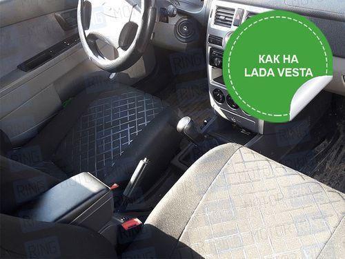 Обивка сидений (не чехлы) термотиснение Скиф на Лада Приора седан_1