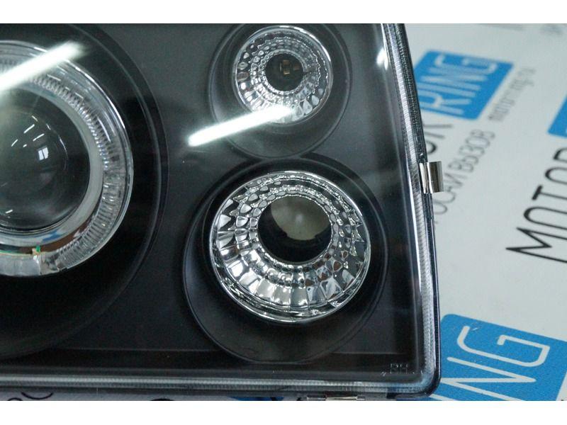 Передние фары черные с ангельскими глазками и линзой на ВАЗ 2108, 2109, 21099_6