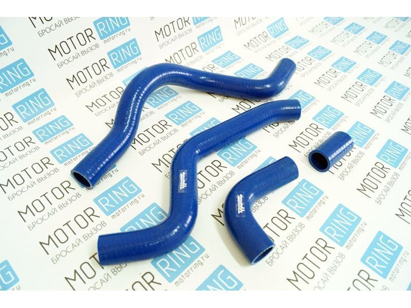 Патрубки радиатора силиконовые синие под терсмостат нового образца на ВАЗ 2110-2112 _1