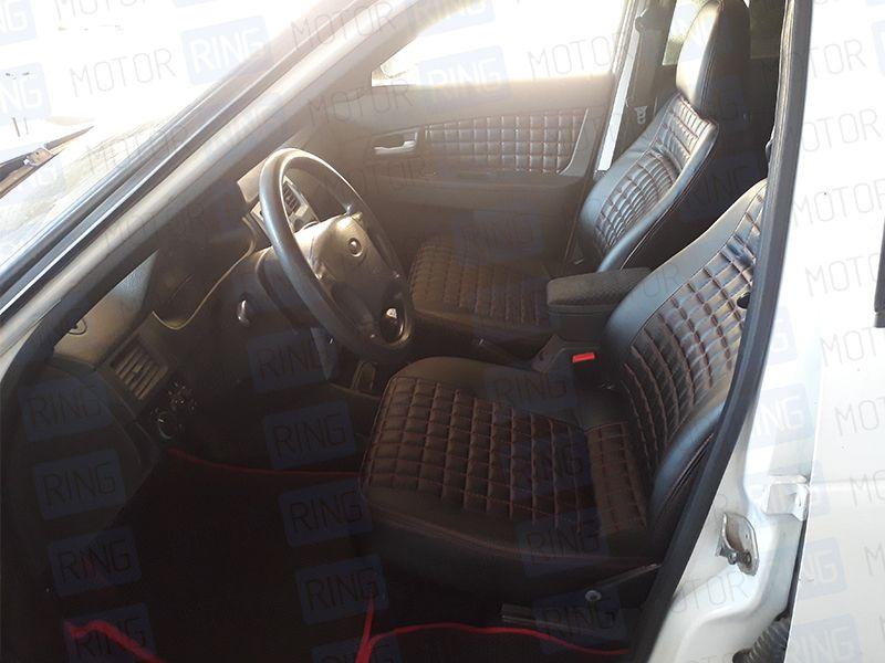 Обивка сидений (не чехлы), Квадрат экокожа с перфорацией на Лада Приора 2 седан_13